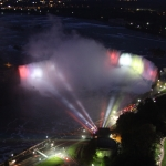 Aerial View of Illumination of Niagara Falls