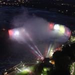 Aerial View of Illumination of Niagara Falls