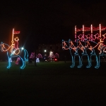 Canadian Mounties on Horses Lighting Display at the Winter Festival of Lights