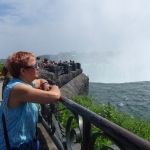 Shot of Woman Looking at Niagara Falls