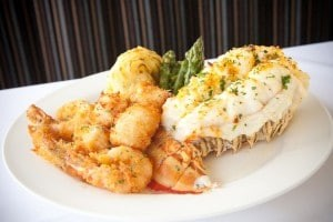 one of the delicious seafood dishes offered at our Skylon Tower Revolving Restaurant