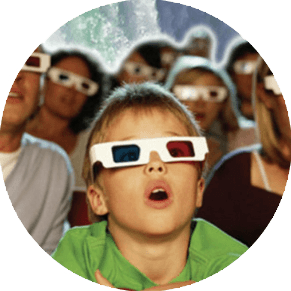 a kid enjoying a 3D movie at the Skylon Theatre