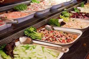 buffet trays full of delicious food from the Skylon Tower Revolving Restaurant