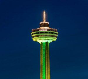 Skylon Tower Turns Green for St. Patrick's Day