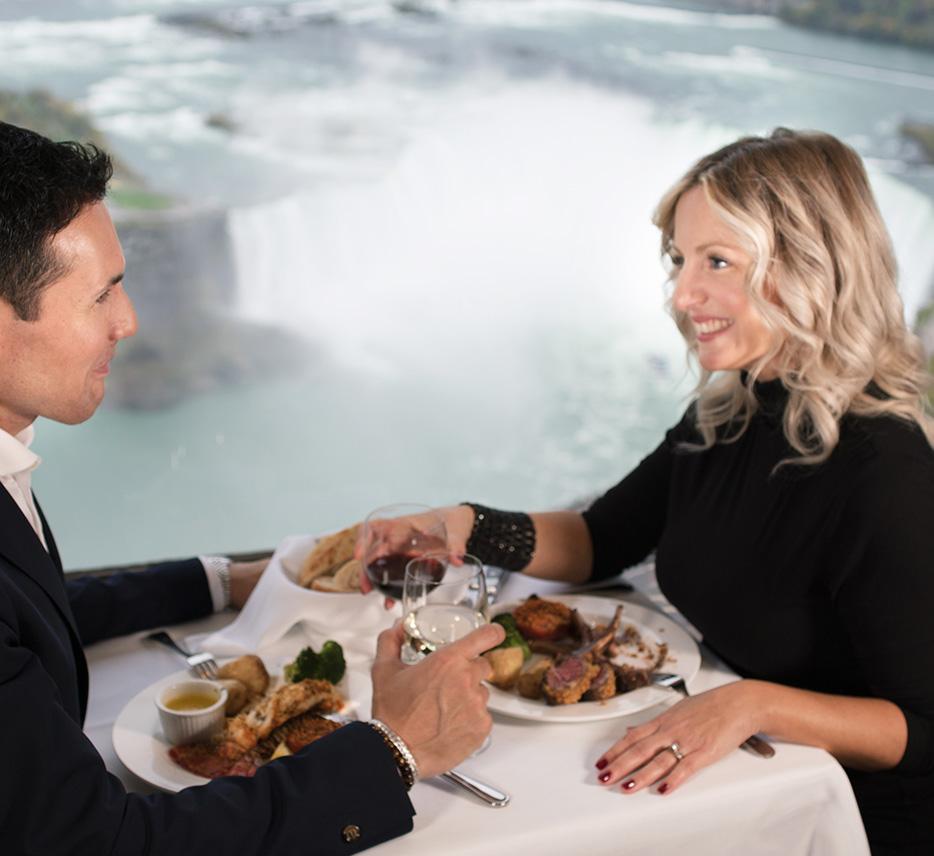 Couple dining at the Skylon Tower Revolving Restaurant