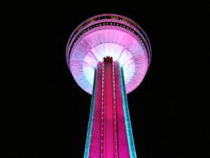 Skylon Tower Glows Pink