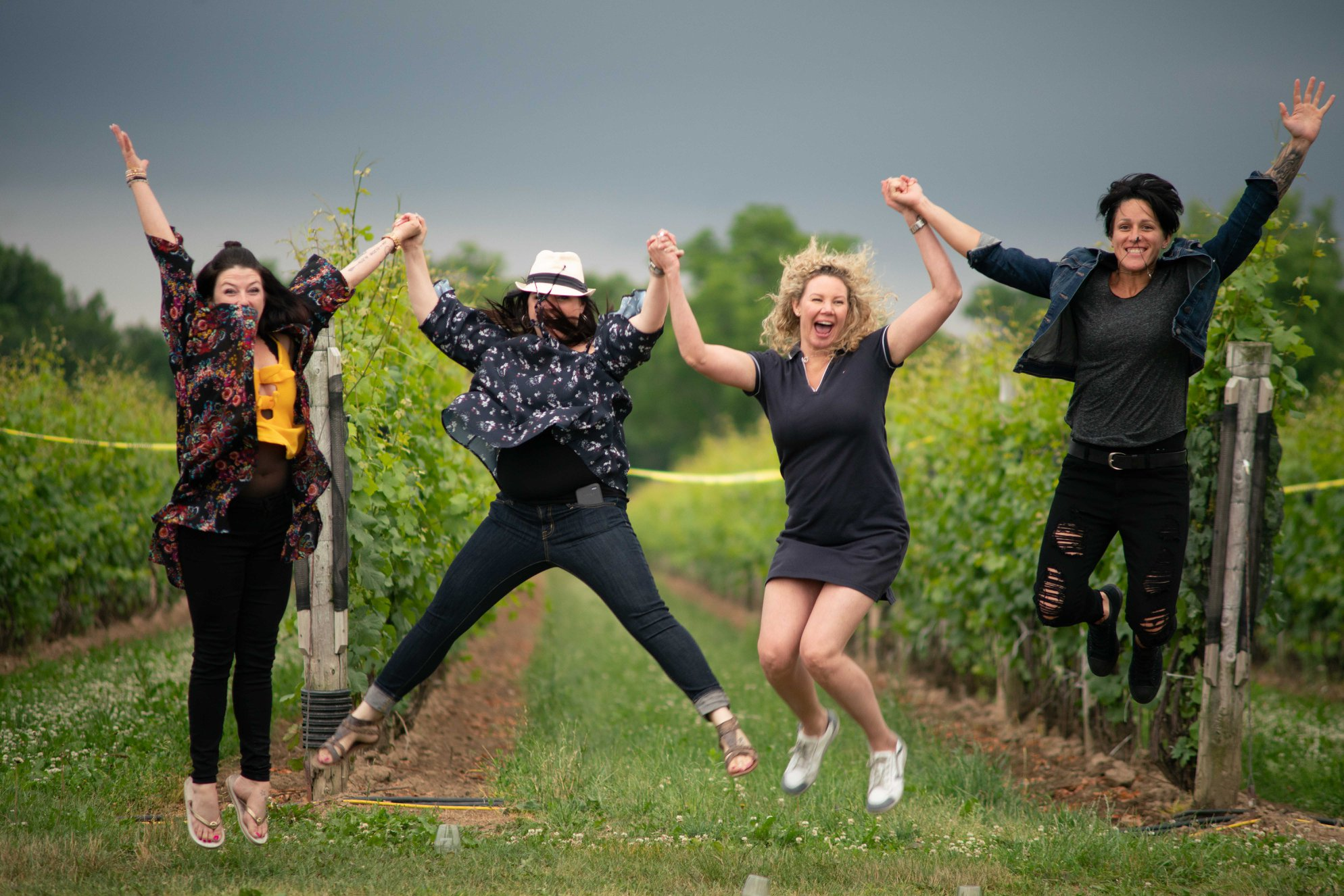 People jumping in a vineyard
