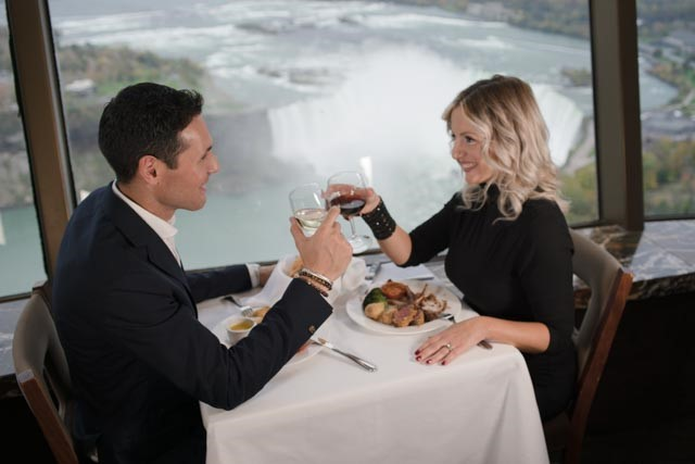 Couple dining at the Revolving Dining Room