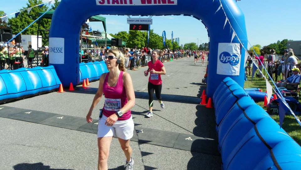 Woman at the finish line